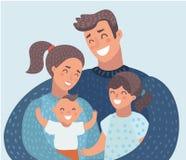 Unga familjföräldrar med två ungar dotter, son royaltyfri illustrationer