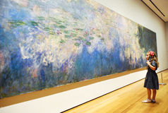Unga flickan beskådar impressionistkonst arkivfoto