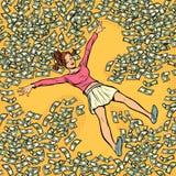 Unga flickan gör dollar för snöängelpengar mycket stock illustrationer