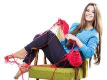 Unga flickan i en blå tröja sitter på en stol med ett rött garnnystan och att sticka en halsduk och en Spitz leenden Vit bakgrund Royaltyfria Bilder