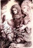 Unga flickan i höst går konversation med henne elven den felika vännen vektor illustrationer