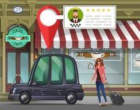 Unga flickan med resväskan går i den London taxien för en funktionsduglig tur på bakgrunden av kafét med taxiservice app vektor illustrationer