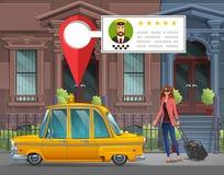 Unga flickan med resväskan går i den New York taxien för en funktionsduglig tur på bakgrunden av hus med taxiservice app stock illustrationer