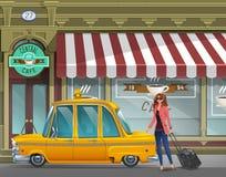 Unga flickan med resväskan går i den New York taxien för en funktionsduglig tur på bakgrunden av kafét royaltyfri illustrationer