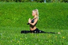 Unga flickan mediterar i yogaposition Royaltyfri Foto