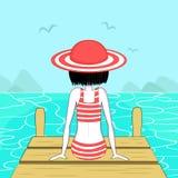 Unga flickan på en pir ser havet stock illustrationer
