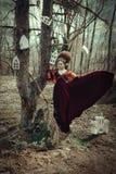 Unga flickan poserar i en röd klänning med den idérika frisyren royaltyfria foton