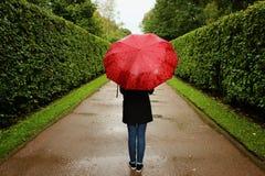 Unga flickan promenerar de gröna gränderna från buskarna i regnet med ett rött paraply Royaltyfri Fotografi