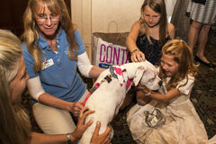 Unga flickan rymmer hunden från älsklings- räddningsaktion Royaltyfria Foton