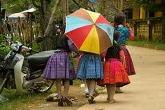 Unga flickor på gatan under förälskelse marknadsför festival i Vietnam Royaltyfri Fotografi