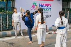 Unga flickor som öva karate Royaltyfri Fotografi