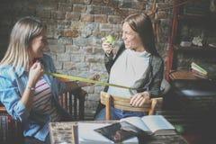 Unga flickor som har rolig konversation Flickamått till hans f royaltyfri bild