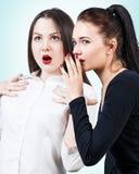 Unga flickor som skvallrar någon hemlighet Arkivfoto