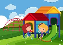 Unga flickor som spelar på lekplatsen vektor illustrationer