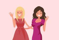 Unga flickor som vinkar deras händer Bästa vän Kvinnligt kamratskap stock illustrationer