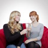 Unga härliga blonda och röda haired flickor med champagne på rött Arkivfoto