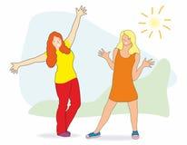 Unga härliga flickor i trendig kläder öppnade lyckligt deras armar med lycka, gyckel och förälskelse stock illustrationer