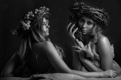 Unga härliga kvinnor med vinrankakransen på huvud royaltyfri bild