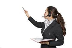 unga hörlurar med mikrofonkvinnor Arkivbilder