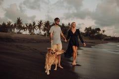 Unga hipsterpar för härligt lyckligt skratt med golden retriever på stranden hav en sand Vinkar concepte av frihet och arkivfoton