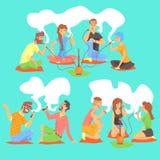 Unga Hipsters som röker vattenpipan och elektroniska cigaretter som sitter på golvuppsättningen av illustrationen med rökare och  Royaltyfria Bilder