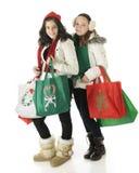 Unga julshoppare Fotografering för Bildbyråer