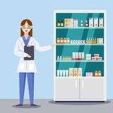 Unga kvinnliga apotekarevisningmediciner och preventivpillerar Apotek- eller apotekinre Illustration för vektorlägenhetstil stock illustrationer