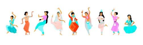 Unga kvinnor dansar i nationell indisk torkduk stock illustrationer