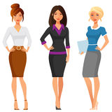 Unga kvinnor i elegant kontorskläder royaltyfri illustrationer