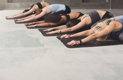 Unga kvinnor i yogagrupp, den halva sköldpaddan poserar sträckning Royaltyfria Bilder