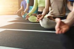 Unga kvinnor och män i yoga klassificerar, kopplar av meditation poserar royaltyfri foto