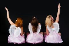Unga kvinnor som ängel Royaltyfri Fotografi
