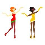 Unga kvinnor som dansar jazz, dansar på en vit bakgrund vektor illustrationer