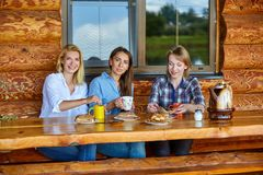 Unga kvinnor som dricker te arkivfoton