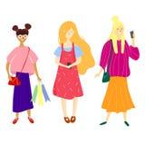 Unga kvinnor som rymmer smartphones och smsar och att tala och att lyssna till musik som tar selfie stock illustrationer