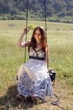 unga långa model kvinnor för härligt hår Fotografering för Bildbyråer
