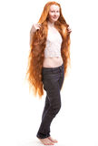 unga långa röda kvinnor för hår Fotografering för Bildbyråer