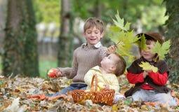Unga lyckliga barn på naturlig höstbackgrou Arkivbild