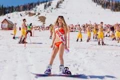Unga lyckliga nätta kvinnor på en snowboard i färgrik bikini Arkivfoto