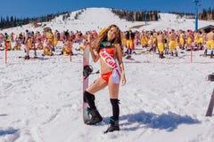 Unga lyckliga nätta kvinnor på en snowboard i färgrik bikini Arkivbilder