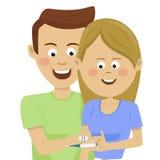Unga lyckliga par som rymmer en graviditetstest med positivt resultat vektor illustrationer