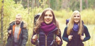 Unga lyckliga vänner som går i skog och tycker om en bra höst Royaltyfria Bilder