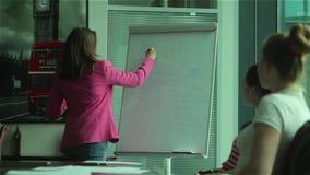 Unga medarbetare som i regeringsställning diskuterar affärsplanet stock video