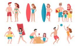 Unga mellan skilda raser lyckliga skämtsamma parinnehavhänder som går på stranden som har gyckel på loppsemestern - kvinnor som l vektor illustrationer
