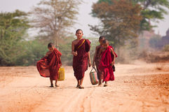 Unga munkar i Bagan Myanmar Royaltyfri Bild