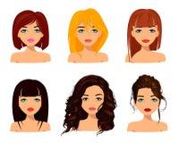 Unga nätta kvinnor med gulliga framsidor, trendiga frisyrer och härliga ögon royaltyfri illustrationer