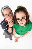 Unga nerdy flickor Arkivfoto