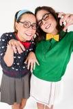 Unga nerdy flickor Arkivbilder