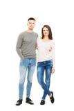 Unga och älskvärda par som isoleras på vit Arkivfoto