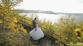 Unga och härliga brölloppar i parkerar tillsammans nära floden Älskvärd brudgum och brud bröllop för tappning för klädpardag lyck arkivfilmer